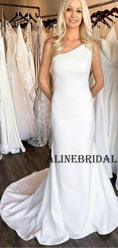Mermaid One Shoulder Satin Simple Wedding Dresses WD1208#weddingdresses #weddingdress #bridalgown #weding #bridaldress #laceweddingdress #fashion #Ballgown #Country #boho #Princess #modest