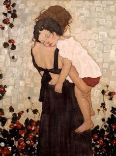 """Gustav Klimt """"Mother and Sleeping Child"""" I just thought this was sweet. Gustav Klimt """"Mother and Sleeping Child"""" I just Gustav Klimt, Art Klimt, Xi Pan, Draw Realistic, Figure Painting, Painting Art, Sculpture Painting, Hippie Painting, Love Art"""