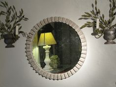 19th Cent French Wooden Round Element adapted as a Mirror.
