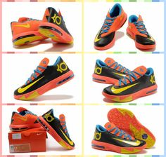 purchase cheap ad58f 6fdc1 Nike Zoom Kevin Durant s KD VI Low  Basketball  Shoes Black Red Orange