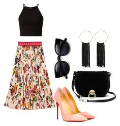 """""""Gucci skirt"""" by natalia-souza-ramos on Polyvore featuring Gucci, Christian Louboutin, Diane Von Furstenberg and Bebe"""