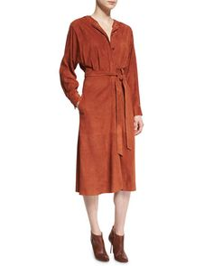 TIBI Suede Button-Front Midi Wrap Dress, Burnt Paprika. #tibi #cloth #
