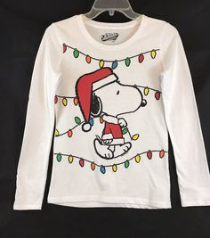 Old Navy Collectabilitees Totally Classic, Santa Claus Snoopy, Long Sleeve, White, T-Shirt. Size: XL. View pictures for details and measurements. | eBay!