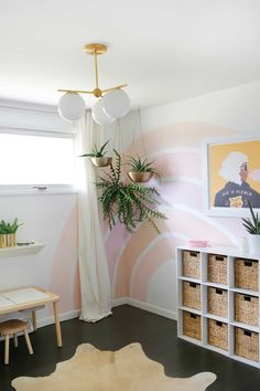 Diy Wand, Diy Wall Decor, Diy Home Decor, Nursery Decor, Nursery Ideas, Striped Accent Walls, Rainbow Wall, Rainbow Nursery, Rainbow Room