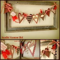 Valentine bunting frame. Leave the frame there year round and fill with different bunting for each holiday!