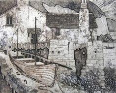 Mike Glanville Hallsands Devon collagraph print 20 x 25cm