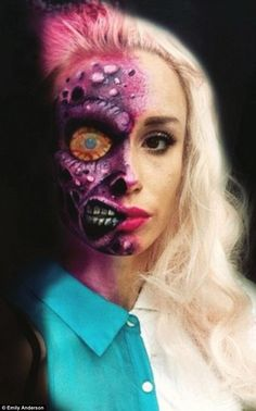 Scary shots: California-based makeup artist Emily Anderson transforms herself into frightening creatures such as Two Face from the Batman movies (pictured) and posts the results on Instagram