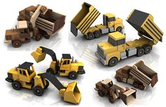 Build the Peter B Dump Truck and CAT Dirt Loader Full-Size Wood Toy Plan Set