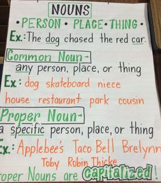 Common and proper nouns anchor chart 3rd Grade Writing, 6th Grade Ela, Writing Classes, 2nd Grade Classroom, 2nd Grade Reading, Writing Lessons, Grammar Lessons, Grammar Worksheets, Grade 2