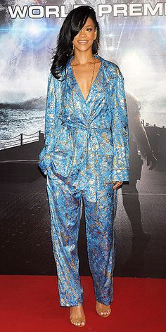 I almost don't mind this Emilio Pucci pajama jumpsuit Rihanna is wearing... almost