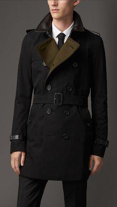 Burberry Brit Leather Detail Cotton Gabardine Trench Coat