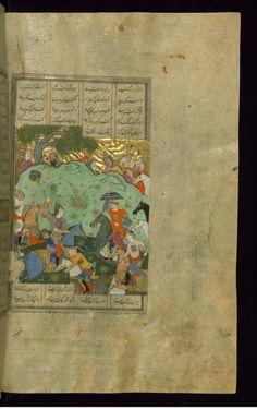 Bizhan Slays Nastihan -  Shahama (Walters manuscript) Firdawsi (Persian, died 411-416 AH/AD 1020-1025) (Author) Muhammad Mirak ibn Mir Muhammad al-Husayni al-Ustadi (Scribe) Herat (?), 1028 AH/AD 1618-1619 ink and pigments on laid paper ACCESSION NUMBER W.602.264B MEASUREMENTS H: 14 3/8 x W: 9 1/4 in. (36.5 x 23.5 cm) The Walters Museum