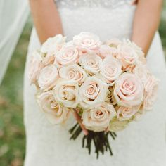 Blush Rose Bridal Bouquet // photo by: Jeff Loves Jessica Photography // Bouquet: Camrose Hill Flower Farm // http://www.theknot.com/weddings/album/a-rustic-romantic-wedding-in-stillwater-mn-132453