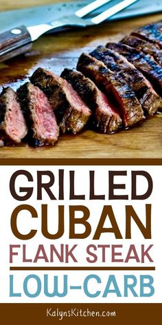 Grilled Cuban Flank Steak starts with a tasty marinade that's loaded with Cuban flavors; then the flank steak is grilled […] Flank Steak Tacos, Steak Marinade For Grilling, Steak Marinade Recipes, Flank Steak Recipes, Grilled Steak Recipes, How To Grill Steak, Grilling Recipes, Steak Marinades, Meats To Grill