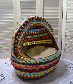 Crochet Cat Cave Pet Bed Upcycled Wicker Basket Mulit-colored Boho Handmade…