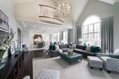 The Peyton model great room and kitchen at Village Gate in Markham by Kylemore Communities