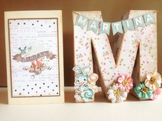 Inicial decorada y tarjeta para bautizo hechas con papel scrapbook heaven sent de prima marketing
