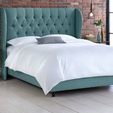 Wingback Tufted Linen Diamond Upholstered Panel Bed