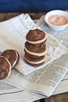 *One-Bite Salted Brownie Cookie & Caramel Frosting Sandwiches - Vegan (some healthy tweaks - sub coconut sugar for the brown sugar, brown rice syrup or coconut nectar for the agave and use sugar free frosting!)