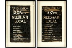 Great Texture- Framed Railroad Schedules, Pair $1,799.00