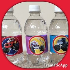 Blaze and the Monster Machines - Birthday Party - Water Bottles wrapped using Nick Jr Treat Toppers print out: http://www.nickelodeonparents.com/blaze-cupcake-toppers/