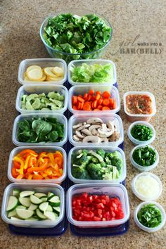 "Super Salad Buffet in your fridge -- clean and prep veggies each week to have on hand for salads, soups & sides! (I had never thought about the part about soups and sides! Prep this stuff for salads at the beginning of the week when everything is really fresh and ""lively"" and then toss it into a quick soup or cooked side when it is less awesome for eating raw. Great idea!)"