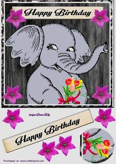 Elephant birthday card front2 on Craftsuprint designed by Donna Kelly - Bright and colourful,Youthful, fun elephant character with floral embelishments and tag approx 7x7 - Now available for download!