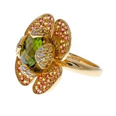 Peridot Yellow & Orange Sapphire Diamond Flower Ring FOURTANÉ
