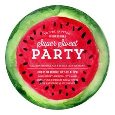 Send a slice of watermelon with this Summer Slice Party Invitation by origamiprints.