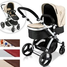 Features of the combination child pushchair extra light and easy to fold aluminium frame removable sun hood covering removable and washable footing hood for carrycot reversible sport seat and c...