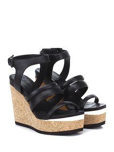 VIC MATIE - Zeppe - Donna - Zeppa in pelle con cinturino alla caviglia e suola in gomma. Tacco 125, platform 45 con battuta 80. - BLACK - € 235.00
