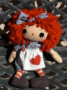 BLUE AND RED Heart Annie. via Etsy.