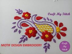 Motif embroidery design created with simple stitches. This motif can be embellished of any project of your choice as it is so simple and easy to do and looks. Embroidery Hearts, Bead Embroidery Patterns, Embroidery Sampler, Indian Embroidery, Hand Embroidery Designs, Beaded Embroidery, Kutch Work Designs, Flower Drawing Tutorials, Herringbone Stitch