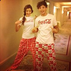 Lou and El ♥ One the cutest freaking couples on the planet ♥ Looking especially adorable in matching Coke PJs (: