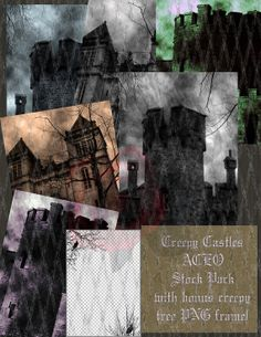 Creepy Castles Goth ACEO Background Stock Pack by TheGraniteZebra, $4.00
