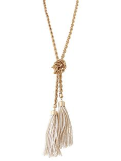 olive + piper Olivia Pearl Tassel Lariat Necklace | A modern mix of fine detail and feminine sophistication. This over-sized lariat necklace comes as one versatile strand, so you can knot it, loop it or drape it however you like.