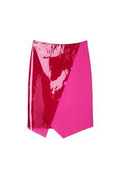 Monki Tamary skirt hot pink skirt with plastic overlay