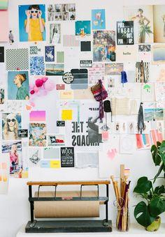 Mood board at Emma Dime Studio, via Apartment 34   Block Print Social