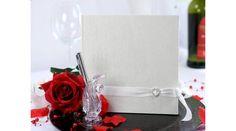 Ekrü vendégkönyv, szatén díszítéssel, Nicol Esküvői Bolt