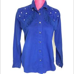 SALE Vintage Blue Western Button Down Offers Vintage Blue Western Button Down, says size small it fits more like a medium. Good vintage condition. Vintage Tops Button Down Shirts