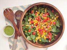 Fresh Summer Salad with Creamy Avocado Basil Dressing — Whole Living Lauren Heart Healthy Recipes, Summer Salads, Basil, Amen, Salsa, Avocado, Dressing, Weather, Fresh