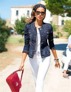 Denim jacket, 7/8 Jeans, Belt, Top, Scarf