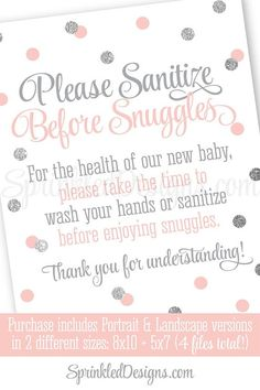Hand Sanitizer Sign, Wash Your Hands, Sanitize Before Snuggles, Sip & See Sign Blush Pink Silver Glitter 8x10 5x7 Printable Baby Shower Sign