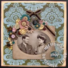 Striking Victorian style wallpaper background and colorful flower embellishments highlight a beautiful vintage photo.