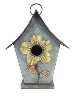 Birdhouses  Metal Birdhouse with Flower Backyard * This is an Amazon Associate's Pin. Find out more from the website by clicking the VISIT button.