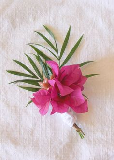 Tropical-Inspired Boutonniere DIY by laurensaylor for Julep Tropical Flowers, Tropical Wedding Bouquets, Flower Bouquet Wedding, Floral Wedding, Tropical Weddings, Wedding Greenery, Wedding Groom, Diy Wedding, Trendy Wedding
