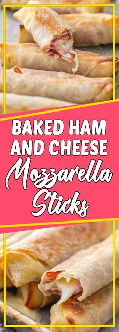 BAKED HAM AND CHEESE MOZZARELLA STICKS Via #yummymommiesnet #dinner dinner #easyrecipes easy recipes #cookinglight cooking light recipes #dinnerrecipes dinner recipes #dinnertime dinner time #easydinner easy dinner recipes for family