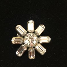 Vintage white rhinestone brooch A fun little emerald cut rhinestone brooch. Vintage patina but still sparkly! Jewelry Brooches