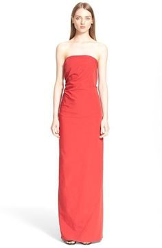 $4,545, Lanvin Drape Back Strapless Faille Gown. Sold by Nordstrom. Click for more info: https://lookastic.com/women/shop_items/378219/redirect