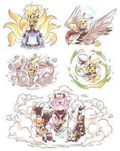 Pikachu as naruto characters! Naruto sasuke sakura sai and kalashi Naruto Pokemon, Pokemon Comics, Pokemon Fan Art, Cool Pokemon, Anime Comics, Manga Anime, Fanarts Anime, Anime Art, Pokemon Crossover